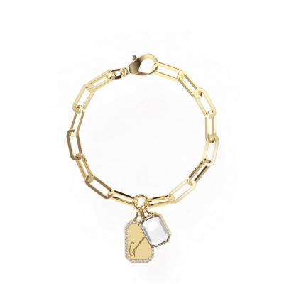 Guess Crystal Tag Goudkleurige Armband JUBB01134JWYGS