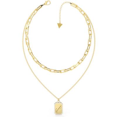 Guess Crystal Tag Goudkleurige Ketting JUBN01127JWYGT-U (Lengte: 40.60 - 45.60 cm)