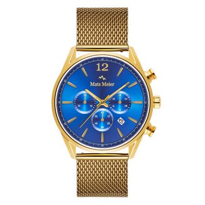 Mats Meier Grand Cornier Chrono Blauw/Goudkleurig horloge MM00118