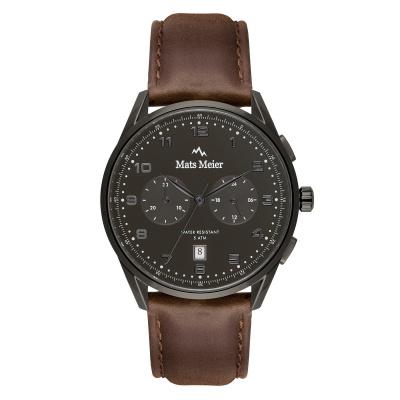 Mats Meier Mont Vélan Chrono Grijs/Bruin horloge MM10005