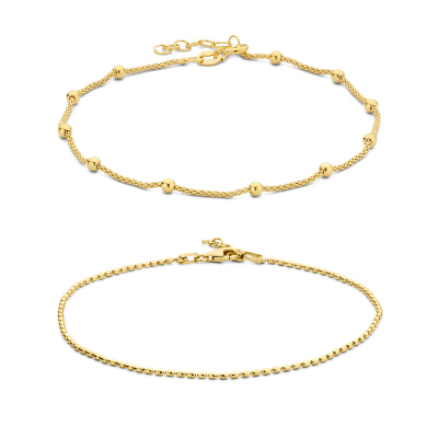 Selected Jewels Selected Gifts 925 sterling zilveren goudkleurige set enkelbandjes SJSET2100884