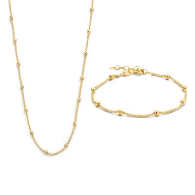 Selected Jewels Selected Gifts 925 sterling zilveren goudkleurige set armband en collier SJSET2100897