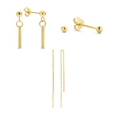 Selected Gifts 925 Sterling Zilveren Goudkleurige Set Oorbellen SJSET380019