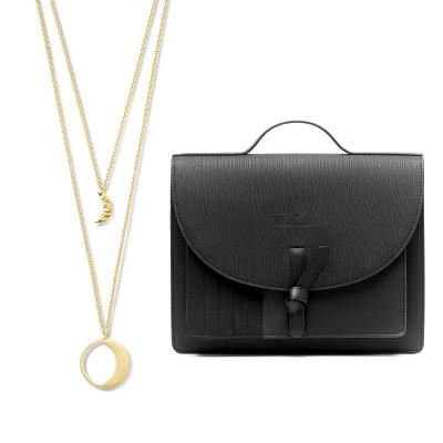 Violet Hamden Luna 925 Sterling Zilveren Luminous Goudkleurige Ketting en Essential Bag Midnight Black Satchel Giftset VH90021