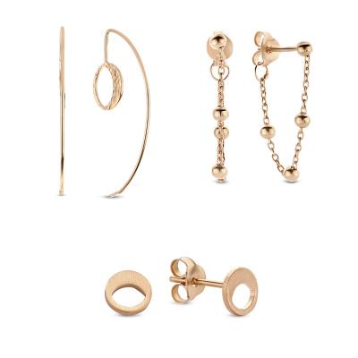 Violet's Gift 925 sterling zilver rosé goudkleurige earparty set VH90038